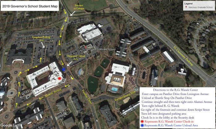 HPU Map to R.G. Wanek Center for Check In